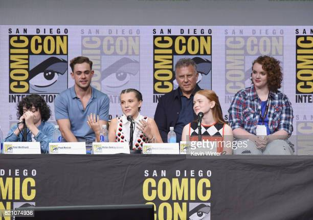 Finn Wolfhard Dacre Montgomery Millie Bobby Brown Paul Reiser Sadie Sink and Shannon Purser attend Netflix's 'Stranger Things' panel during ComicCon...