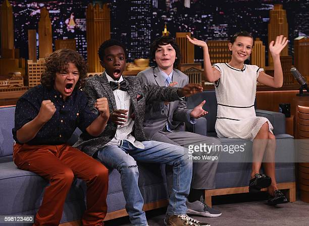 Finn Wolfhard Millie Bobby Brown Gaten Matarazzo and Caleb McLaughlin Visit 'The Tonight Show Starring Jimmy Fallon' at Rockefeller Center on August...