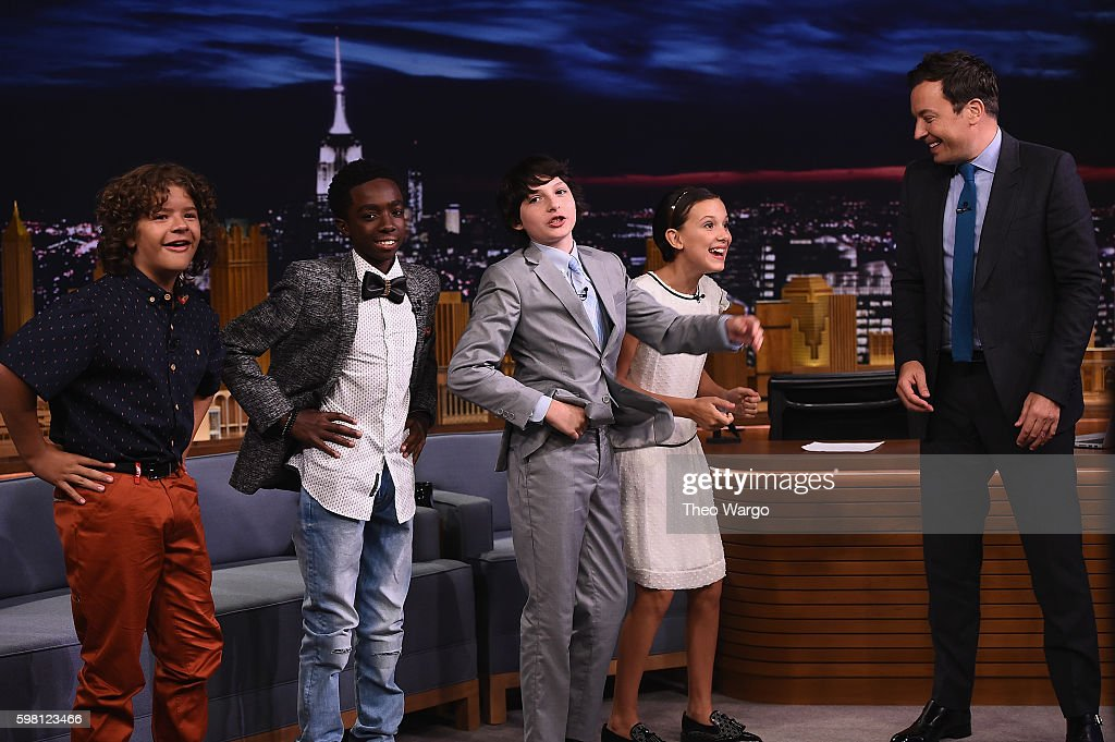 Finn Wolfhard, Millie Bobby Brown, Gaten Matarazzo and Caleb McLaughlin Visit 'The Tonight Show Starring Jimmy Fallon' at Rockefeller Center on August 31, 2016 in New York City.