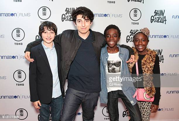 Finn Wolfhard Nick Wolfhard Caleb McLaughlin and Caitlyn McLaughlin attend 'Shin Godzilla' New York Comic Con Premiere on October 5 2016 in New York...