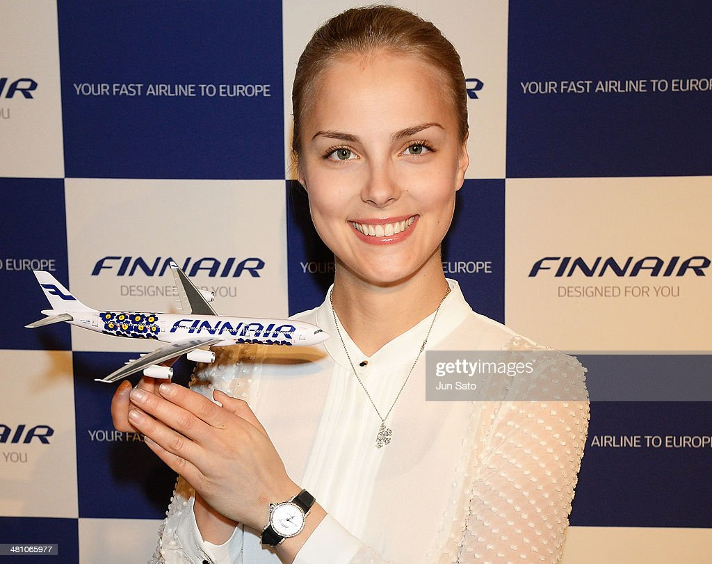 Finnair Ambassador and figure skater <a gi-track='captionPersonalityLinkClicked' href=/galleries/search?phrase=Kiira+Korpi&family=editorial&specificpeople=728663 ng-click='$event.stopPropagation()'>Kiira Korpi</a> poses for photographs on March 28, 2014 in Tokyo, Japan.