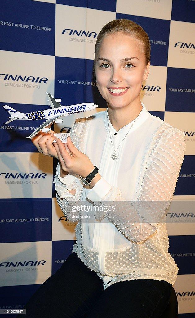 Finnair Ambassador and figure skater Kiira Korpi poses for photographs on March 28 2014 in Tokyo Japan