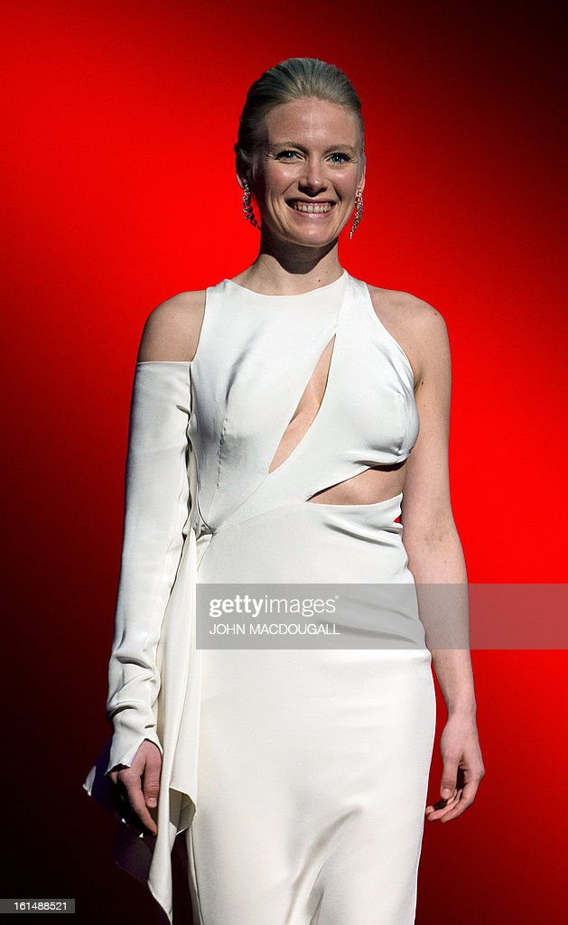 Finnish actress Laura Birn steps on stage to receive her Shooting Star award during the 63rd Berlinale Film Festival in Berlin February 11, 2013. The Shooting Star awards reward Europe's best young promising actors.