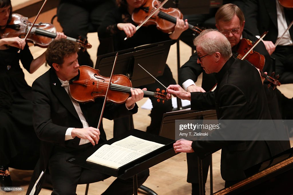 Finnish conductor Osmo Vanska leads the London Philharmonic Orchestra as English pianist Stephen Hough plays the piano in composer Antonin Dvorak's Piano Concerto in G minor in the Southbank Centre's the Royal Festival Hall on February 10, 2016 in London, England.