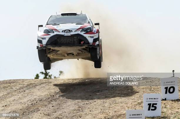 Finnish driver Esapekka Lappi and codriver Janne Ferm steer their Toyota Yaris WRC during the 'Arena' at Coiluna Loelle on the third day of the 2017...