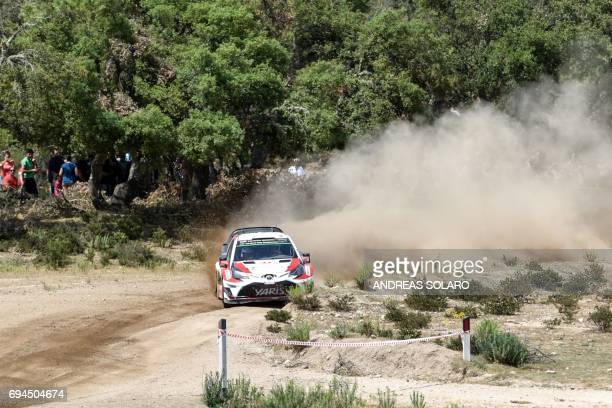 Finnish driver Esapekka Lappi and codriver Janne Ferm steer their Toyota Yaris WRC during the Micky's Jumps at Monte Lerno on the third day of the...