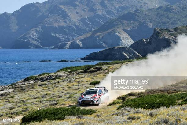 Finnish driver Esapekka Lappi and codriver Janne Ferm steer their Toyota Yaris WRC during the race at Argentiera near Alghero on the fourth day of...