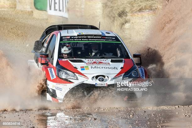 Finnish driver Jari Matti Latvala and Finish codriver Miikka Anttila drive their Toyota Yaris WRC during the first stage of the 2017 FIA World Rally...