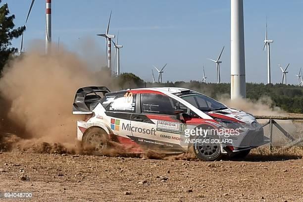 Finnish driver Jari Matti Latvala and Finish codriver Miikka Anttila race their Toyota Yaris WRC near Tula village on the second day of the 2017 FIA...