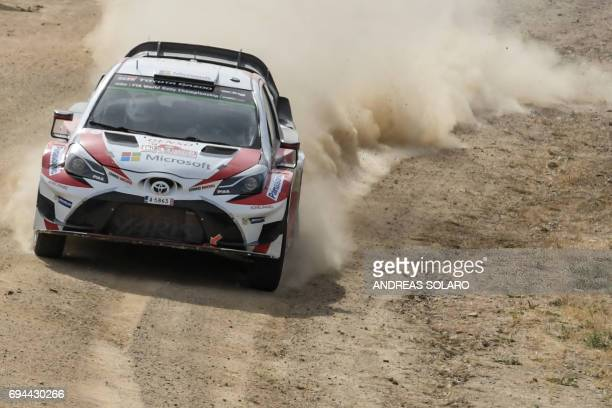 Finnish driver Jari Matti Latvala and Finish codriver Miikka Anttila race their Toyota Yaris WRC during the Micky's Jumps at Monte Lerno on the third...