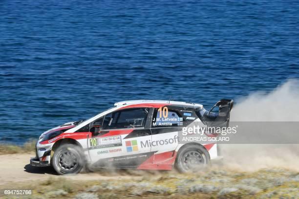 Finnish driver Jari Matti Latvala and Finish codriver Miikka Anttila drive their Toyota Yaris WRC during the race at Argentiera near Alghero on the...
