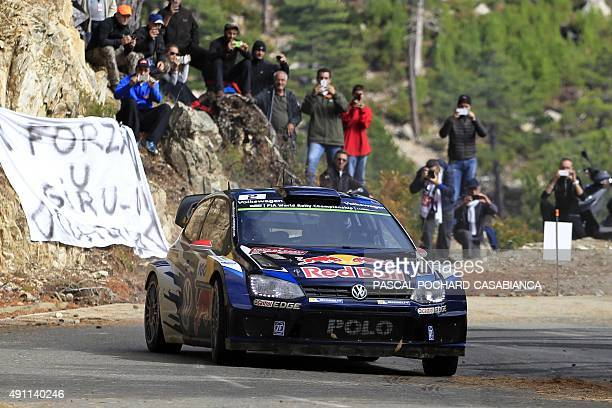 Finnish driver Jari Matti Latvala steers his Volkswagen Polo R during the sixth special stage of the WRC Tour de Corse Rally championship on October...