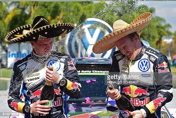 Finnish driver JariMatti Latvala and codriver Miikka Anttila celebrates their victory in the 2016 FIA World Rally Championship in Guanajuato...