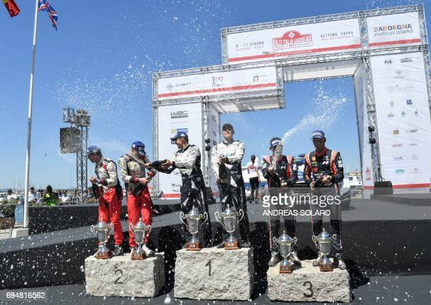 Finnish driver JariMatti Latvala and compatriot h codriver Miikka Anttila of Toyota Yaris WRC Estonian driver Ott Tanak and his compatriot codriver...