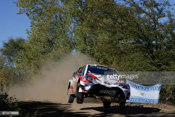Finnish driver JariMatti Latvala steers his Toyota Yaris WRC with compatriot codriver Miikka Anttila during the SS3 between Amboy and Santa Monica...