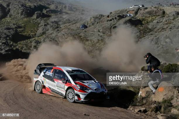 Finnish driver JariMatti Latvala steers his Toyota Yaris WRC with compatriot codriver Miikka Anttila during the Special Stage 11 of the WRC Argentina...