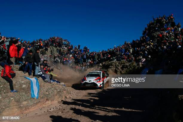 Finnish driver JariMatti Latvala steers his Toyota Yaris WRC with compatriot codriver Miikka Anttila during the Special Stage 16 El CondorCopina...