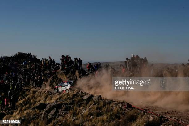 Finnish driver JariMatti Latvala steers his Toyota Yaris WRC with compatriot codriver Miikka Anttila during the WRC Argentina Rally Special Stage 16...