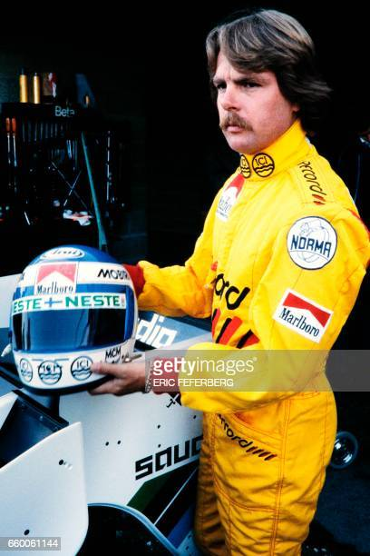 Finnish driver Keke Rosberg is seen during the first practice session on May 18 1984 in Dijon ahead of the Monaco Formula One Grand Prix / AFP PHOTO...