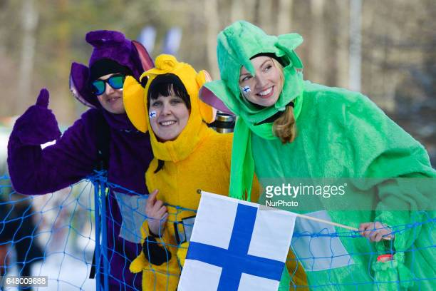 Finnish fans during Ladies crosscountry 30 km Mass Start Free final at FIS Nordic World Ski Championship 2017 in Lahti On Saturday March 04 in Lahti...