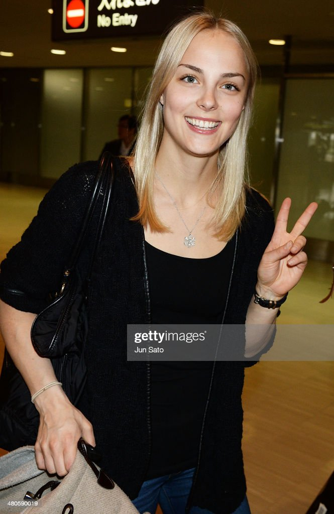 Finnish Figure Skating Champion Kiira Korpi is seen upon arrival at Narita International Airport on March 26, 2014 in Narita, Japan.