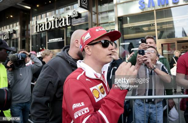 Finnish Formula One driver Kimi Raikkonen of Ferrari arrivews for a media meeting of his sponsor Santander Bank in Helsinki Finland on August 22 2017...