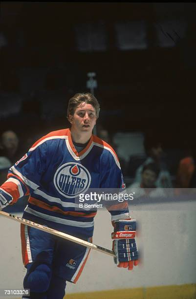 Finnish hockey player Jari Kurri of the Edmonton Oilers on the ice during a game 1980s