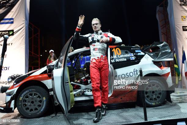 Finnish JariMatti Latvala and his codriver Mikka Anttila of Toyota Gazoo Racing WRT during the street stage on the first day of the FIA World Rally...