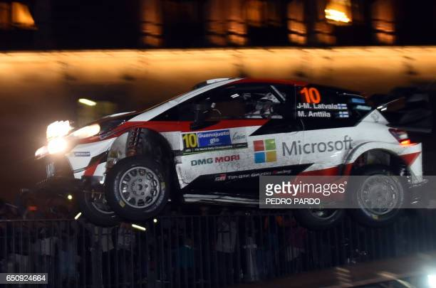 Finnish JariMatti Latvala of Toyota Gazoo Racing WRT gets air during the street stage on the first day of the FIA World Rally Championship's in...