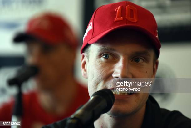 Finnish JariMatti Latvala Toyota Gazoo Racing WRT speaks during a press conference just before the start of the 2017 FIA World Rally Championship in...