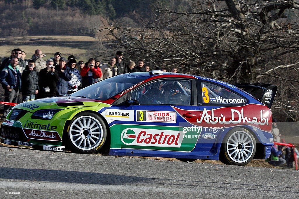 Finnish Mikko Hirvonen steers his Ford Focus RS WRC 07, 24 January 2008 in Vernoux-en-Vivarais near Valence, south-eastern France, during a training session of the 76th edition of the Monte-Carlo Rally.