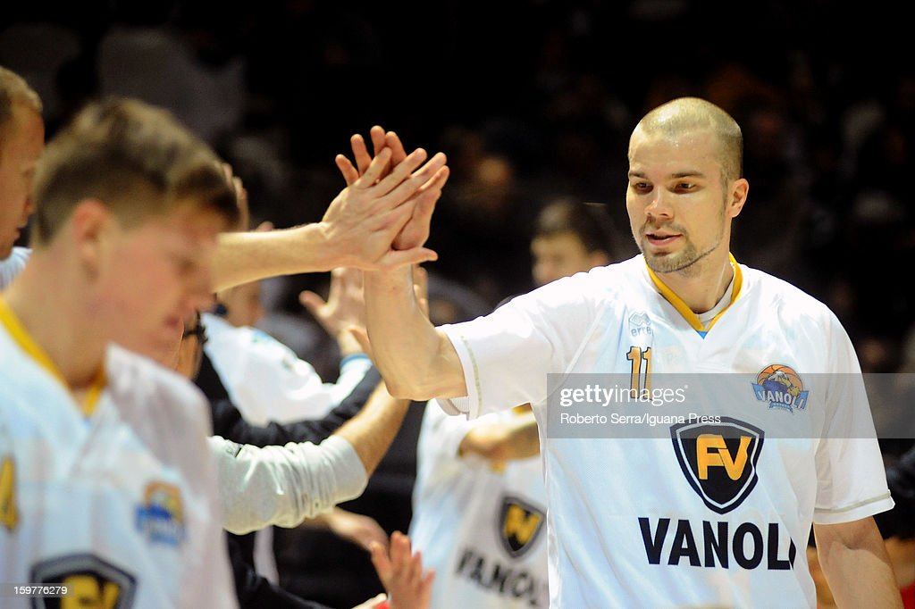Finnish player Tukka Kotti of Vanoli celebrates during the LegaBasket Serie A match between Virtus SAIE3 Bologna and Vanoli Cremona at Futurshow Station on January 20, 2013 in Bologna, Italy.