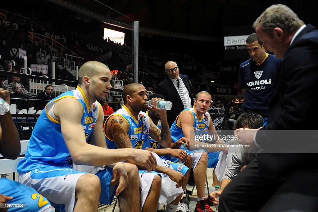 Finnish player Tukka Kotti talks with head coach Luigi Gresta during a time out during the LegaBasket Serie A match between Virtus SAIE3 Bologna and Vanoli Cremona at Futurshow Station on January 20, 2013 in Bologna, Italy.