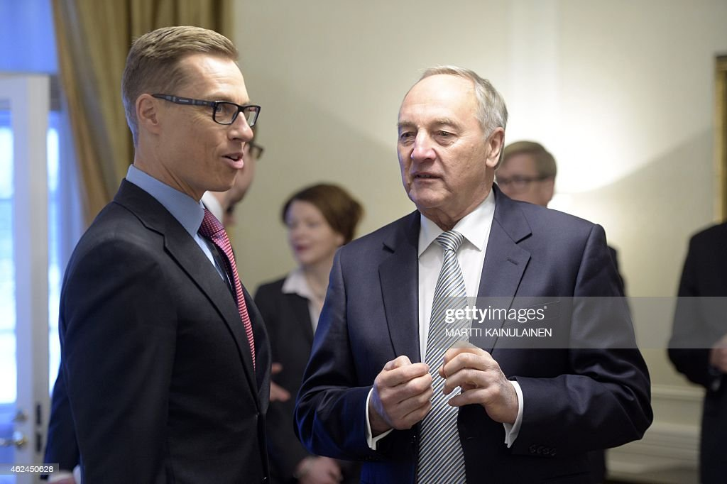 Finnish Prime Minister <a gi-track='captionPersonalityLinkClicked' href=/galleries/search?phrase=Alexander+Stubb&family=editorial&specificpeople=2157393 ng-click='$event.stopPropagation()'>Alexander Stubb</a> (L) and Latvian President Andris Berzins meet at the Prime Minister's official residence Kesäranta in Helsinki, Finland, on January 29, 2015. AFP PHOTO / LEHTIKUVA / Martti Kainulainen