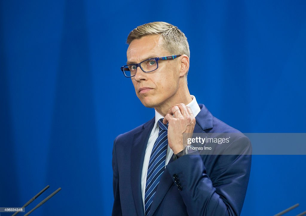 Finnish Prime Minister <a gi-track='captionPersonalityLinkClicked' href=/galleries/search?phrase=Alexander+Stubb&family=editorial&specificpeople=2157393 ng-click='$event.stopPropagation()'>Alexander Stubb</a> during a press conference at the chancellery in Berlin on September 29, 2014, Germany.