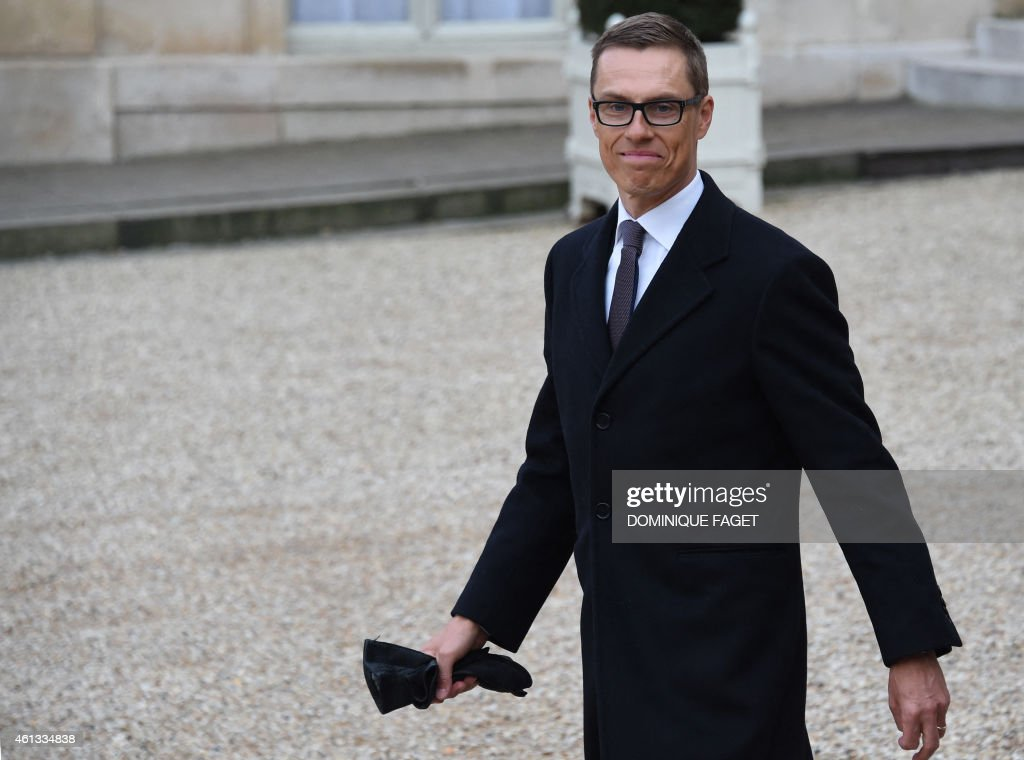 Finnish Prime Minister <a gi-track='captionPersonalityLinkClicked' href=/galleries/search?phrase=Alexander+Stubb&family=editorial&specificpeople=2157393 ng-click='$event.stopPropagation()'>Alexander Stubb</a> leaves the Elysee Palace after attending a Unity rally Marche Republicaine on January 11, 2015 in Paris in tribute to the 17 victims of a three-day killing spree by homegrown Islamists. The killings began on January 7 with an assault on the Charlie Hebdo satirical magazine in Paris that saw two brothers massacre 12 people including some of the country's best-known cartoonists, the killing of a policewoman and the storming of a Jewish supermarket on the eastern fringes of the capital which killed 4 local residents.