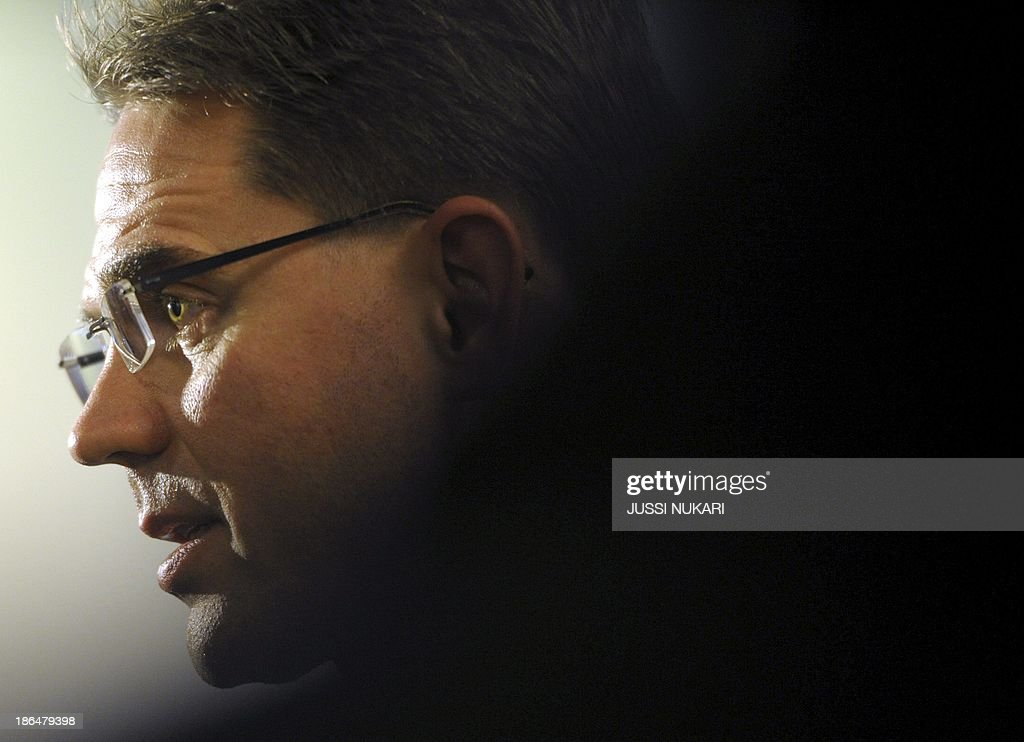 Finnish Prime Minister <a gi-track='captionPersonalityLinkClicked' href=/galleries/search?phrase=Jyrki+Katainen&family=editorial&specificpeople=3014648 ng-click='$event.stopPropagation()'>Jyrki Katainen</a> arrives at Helsinki-Vantaa airport on October 31, 2013 from his visit to Russia. Katainen had to comment on the news that Finnish Ministry for Foreign Affairs' network has been spied on by foreign states.