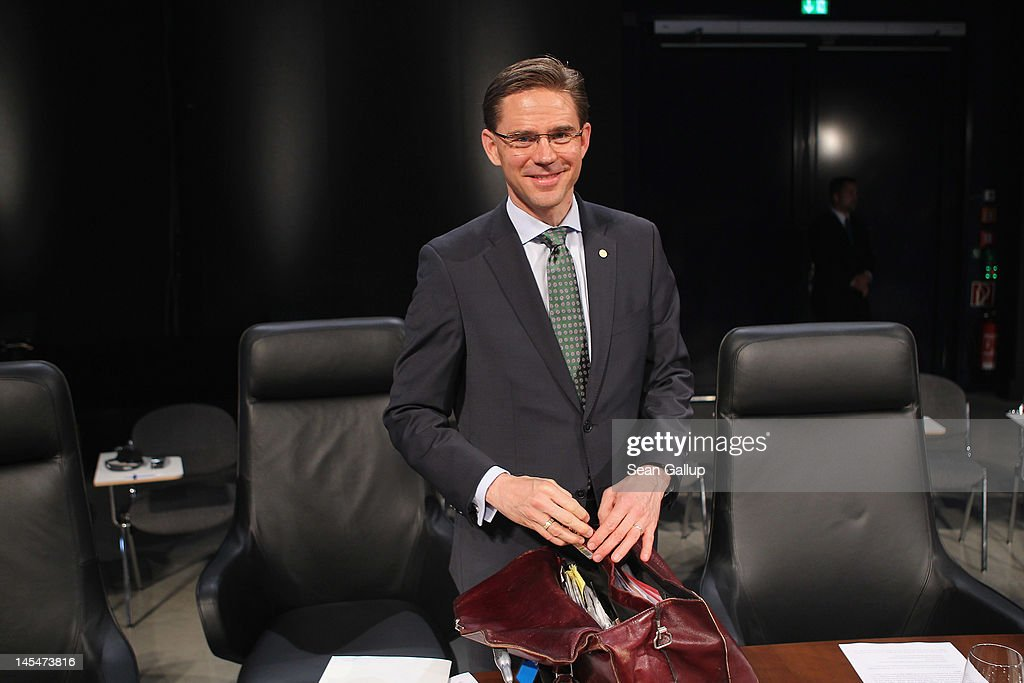 Finnish Prime Minister <a gi-track='captionPersonalityLinkClicked' href=/galleries/search?phrase=Jyrki+Katainen&family=editorial&specificpeople=3014648 ng-click='$event.stopPropagation()'>Jyrki Katainen</a> arrives at the opening of the 2012 Council of Baltic Sea States Summit at the Ozeaneum maritime museum on May 30, 2012 in Stralsund, Germany. Leaders of the eleven member states as well as representatives of the European Union are meeting to discuss matters related to energy, the environment and economic development during the two-day summit.