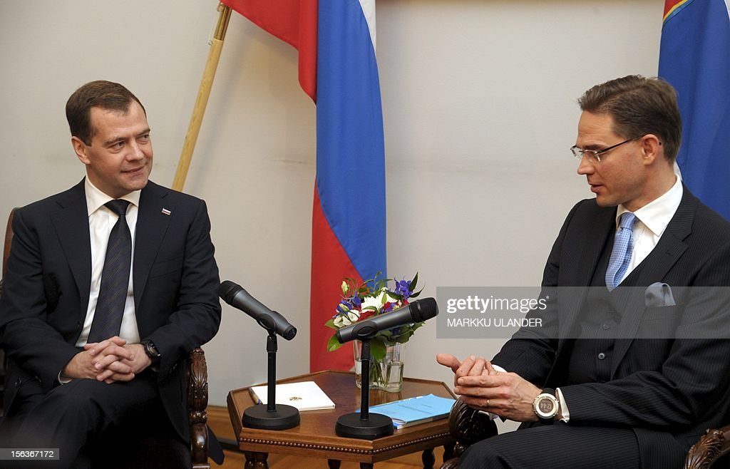 Finnish Prime Minister Jyrki Katainen (R) chats with Russian Prime Minister Dmitri Medvedev during their meeting at the Government Banquet Hall on November 14, 2012 in Helsinki, Finland.