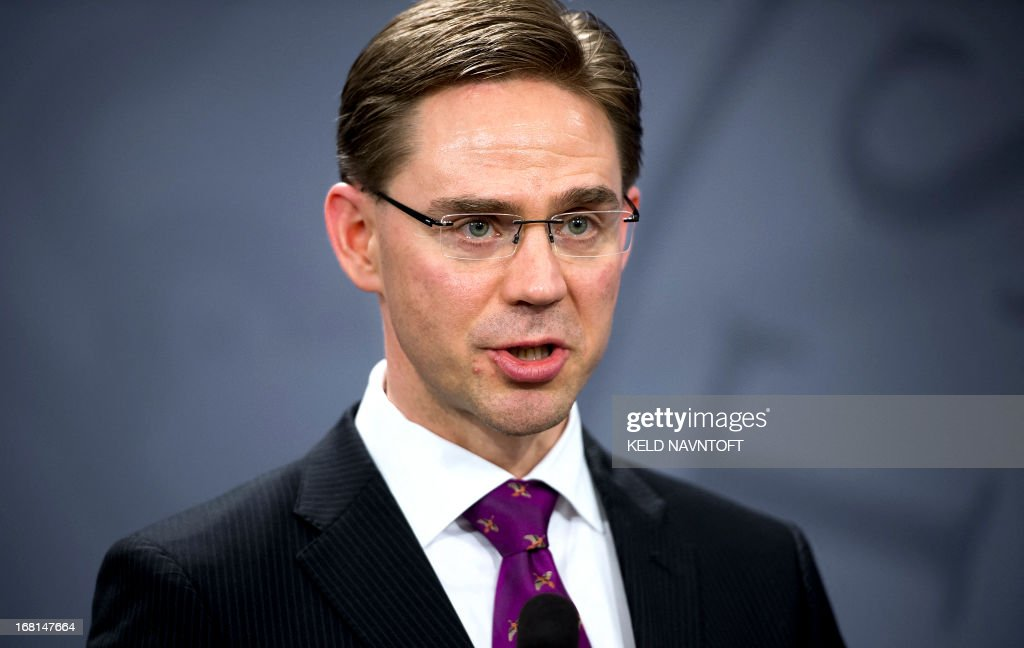Finnish Prime Minister Jyrki Katainen is pictured during a press conference at the Prime Ministers office in Copenhagen on May 6, 2013. Katainen and Danish Prime Minister Helle Thorning-Schmidt discussed current European politics and foreign policy issues.