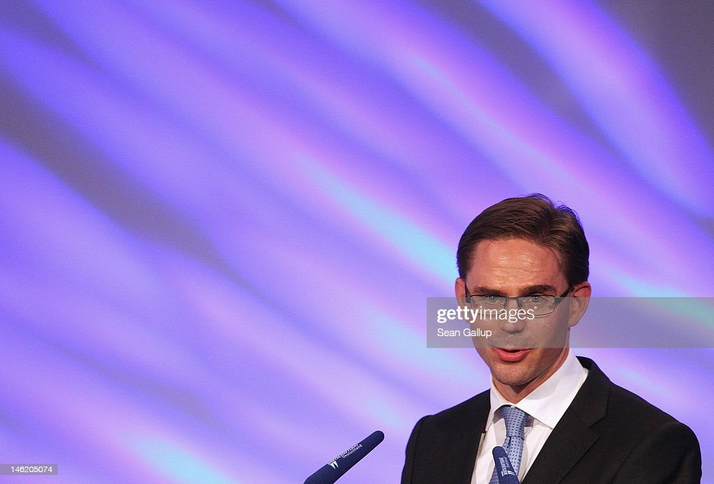 Finnish Prime Minister <a gi-track='captionPersonalityLinkClicked' href=/galleries/search?phrase=Jyrki+Katainen&family=editorial&specificpeople=3014648 ng-click='$event.stopPropagation()'>Jyrki Katainen</a> speaks at the conference of the Economic Council of the CDU (Wirtschaftsrat der CDU) on June 12, 2012 in Berlin, Germany. German Chancellor Angela Merkel, in a speech before, said that Europe is at a crossroads between mastering its economic problems or sliding into global insignificance.