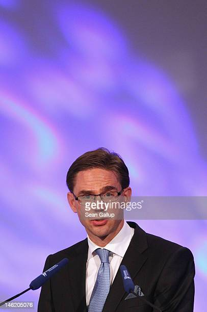 Finnish Prime Minister Jyrki Katainen speaks at the conference of the Economic Council of the CDU on June 12 2012 in Berlin Germany German Chancellor...