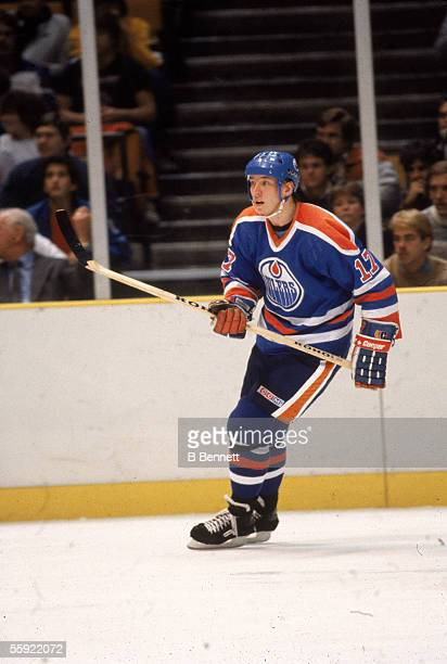 Finnish pro hockey player Jari Kurri of the Edmonton Oilers in action during an away game December 1984