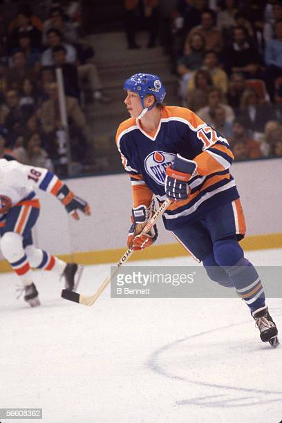 Finnish pro hockey player Jari Kurri of the Edmonton Oilers on the ice during a road game October 1980s