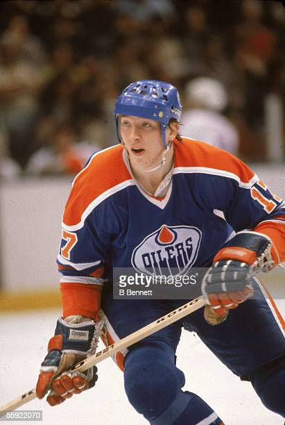 Finnish professional hockey player Jari Kurri of the Edmonton Oilers in action during an away game April 1981