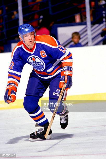 Finnish professional hockey player Jari Kurri right wing for the Edmonton Oilers on the ice during an away game late 1980s