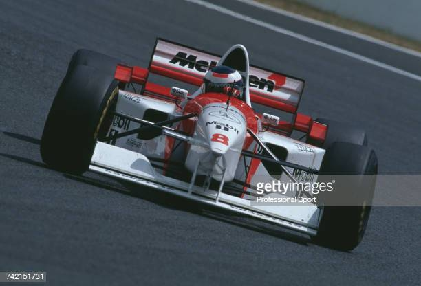 Finnish racing driver Mika Hakkinen drives the Marlboro McLaren Mercedes McLaren MP4/10B Mercedes FO 110 30 V10 to finish in 7th place in the 1995...