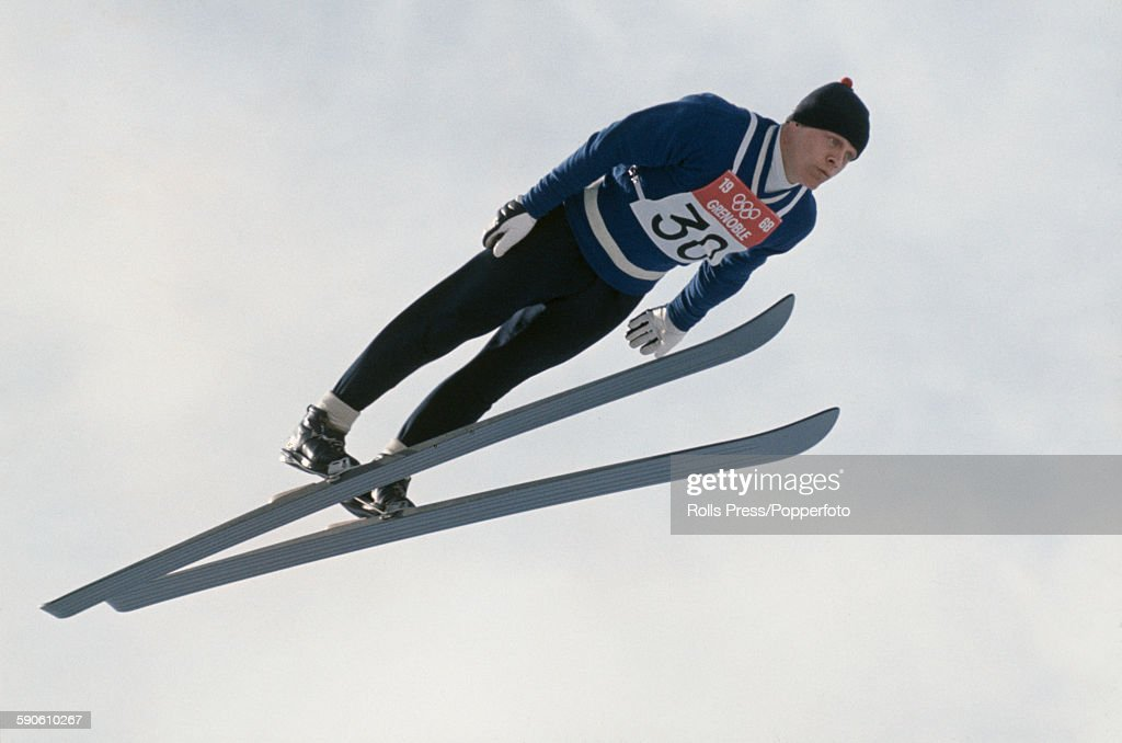 Finnish ski jumper Veikko Kankkonen competes in the large hill individual ski jumping competition at the 1968 Winter Olympic Games at...