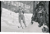 Finnish 'ski king' Veikko Hakulinen speeds along during the 30 kilometer crosscountry ski race which he won in the seventh Winter Olympic Games The...