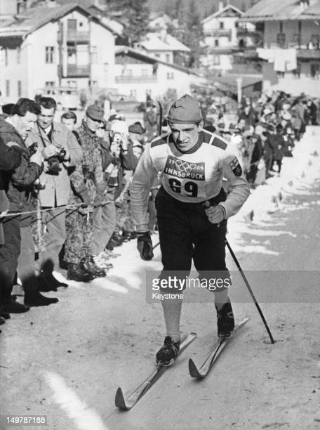 Finnish skier Eero Mantyranta winning the Men's 30 km crosscountry skiing event at the Winter Olympics in Innsbruck Austria 1st February 1964
